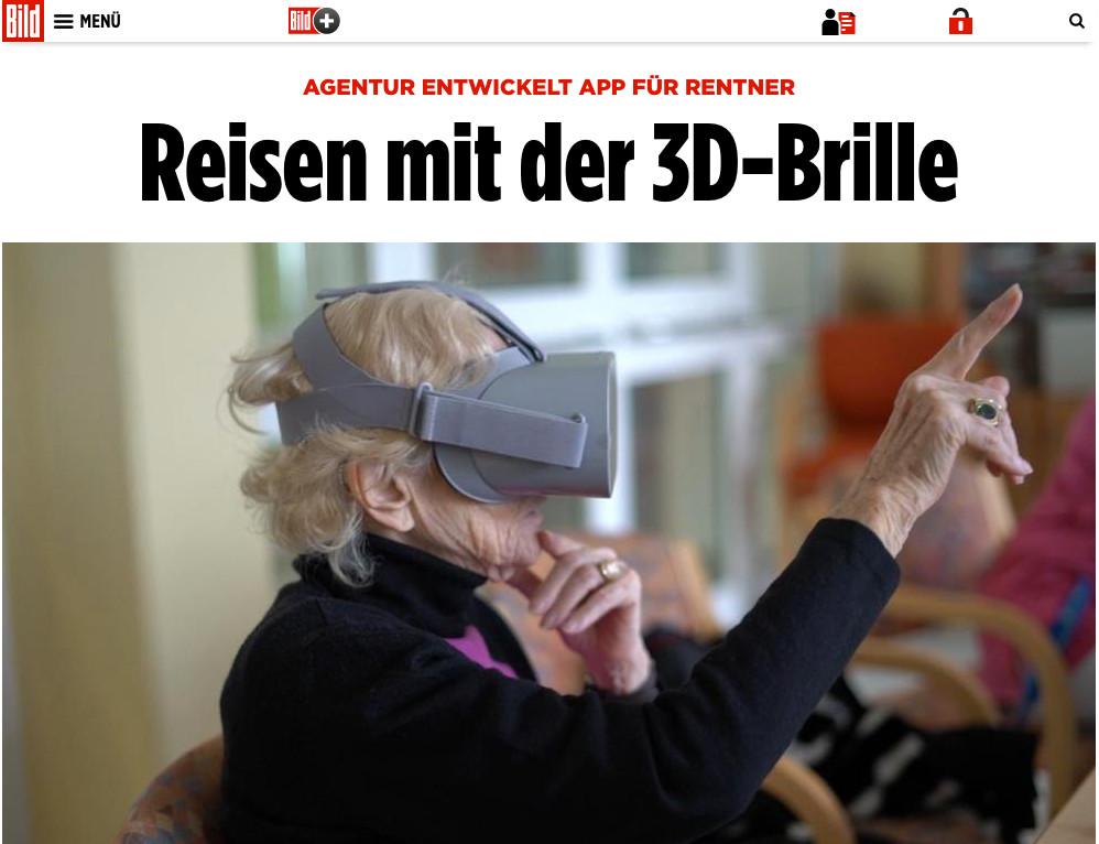 Sceenshot aus Beitrag von BILD über RemmyVR (VR Brille für Senioren)