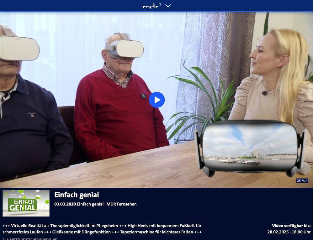 Sceenshot aus Beitrag vom MDR über RemmyVR (VR Brille für Senioren)