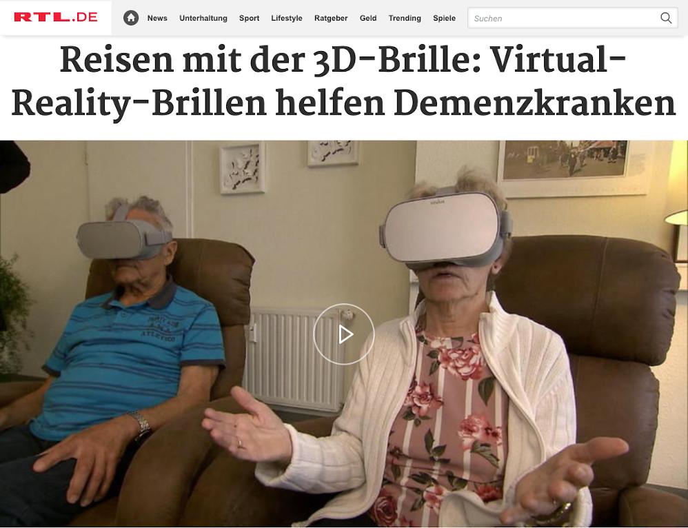 Sceenshot aus Beitrag von RTL über RemmyVR (VR Brille für Senioren)